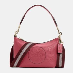 Coach Dempsey Shoulder Bag With Patch Fuchsia